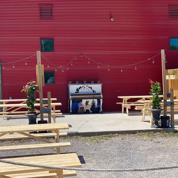 Picture of Lakeside Brew Pub patio with spaced picnic tables.