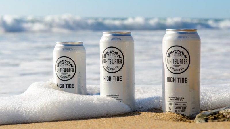 3 cans of High Tide in front of the ocean on Fistral Beach