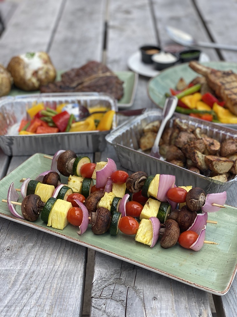 Four Veggie Kabobs with roasted potatoes