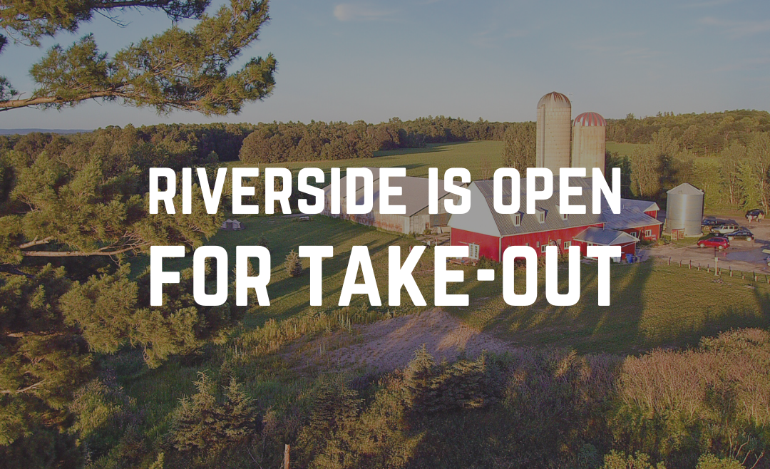Exterior shot of Riverside Brew Pub with text overlay that reads, Riverside is Open for Take-Out